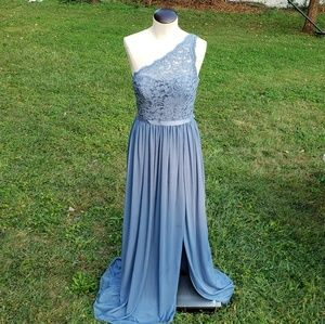 Long one shoulder steel blue bridesmaid gown